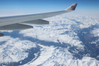 View on Switzerland Alps during the flight to Abu Dhabi
