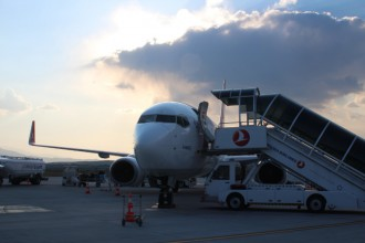In front of the plane I flew with.